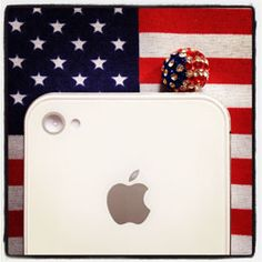 USA Globe with Crystals - Phone jack protector - prevents dust getting through phone jack and damaging your phone. And sparkly! :)