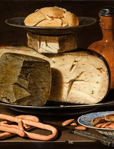 A realistic painting by a 17th century female artist, Clara Peeters, entitled Still Life with Cheeses, Almonds and Pretzels from circa 1615.  She includes a tiny self-portrait reflected in the silver cap of the flask!