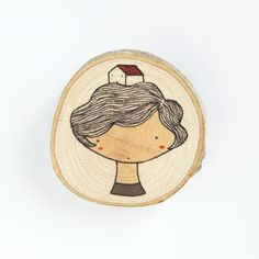 girl with house - illustrated wooden brooch ♥