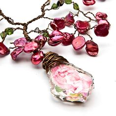 Pink Bridal Necklace Pink Statement by CherylParrottJewelry,