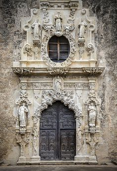 ARCHITECTURE – Main Door, Mission San Jose, San Antonio, Texas