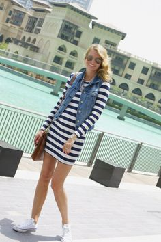 striped dress, jean vest, converse