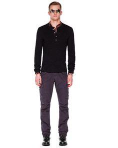Michael Kors Thermal Henley, Check Tailored Shirt & Cargo Pants.