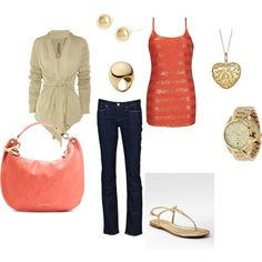 coral/gold, created by marlyce3.polyvore.com