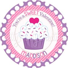 VALENTINE CUPCAKE favor tags  YOU Print  4 by PrettyPartyCreations, $6.25