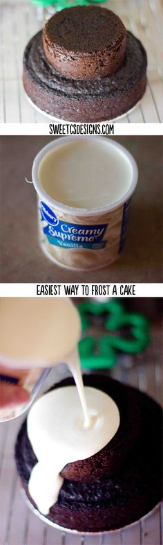 easiest way to frost a cake ever- this is awesome! get a faux fondant look with store bought icing taste. at sweetcsdesigns.com  #cake #party #fondant #pouredicing