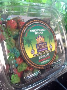 Caviar Kings Cherry Berries Kreeper Deliciously fruity and packed with 200mg of THC for only $14.00 Each You can break it off and eat it in piece or chunks!