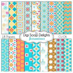 Jasmina Digital Scrapbook Paper in Aqua Blue by DigiScrapDelights