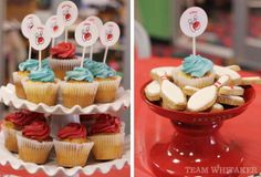 Bowling themed birthday party desserts made by a very creative party mom.