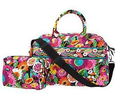 Vera Bradley Signature Print Weekender Bag and Cosmetic