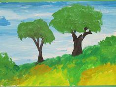 """3rd grade landscape painting; 12"""" X 18""""; art teacher: Susan Joe"""