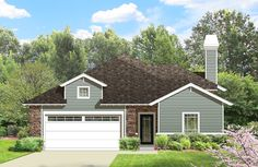 For Sale: Perfect one-story home for a narrow, but deep lot. The Springfield #houseplan 4226 features 4 bedrooms, 3 baths, a private courtyard and open living/kitchen area and it's only 39' wide. Prices start at $750 for four-sets of blueprints. View more details about this home plan: http://www.thehousedesigners.com/plan/the-springfield-4226/