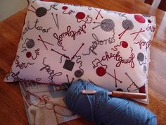 TRAVEL PILLOW  Knitting Terms and Yarn White Fabric by KOALACaddie, $25.00