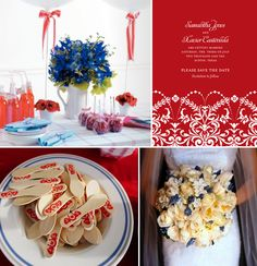 Love the red and white save the date.