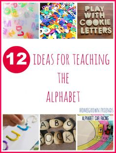Round-up of 12 of my favorite creative ideas for teaching the alphabet to children.  (www.homegrownfriends.com)