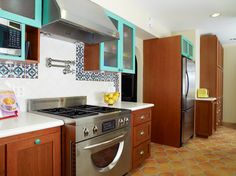 Leave some cupboards wood color w/ colored knobs?