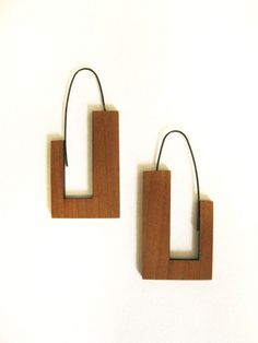 wood earrings geometric 'j' shaped hoop in cherry by SylvanBijoux