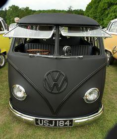 Matte Black Volkswagon T1 buses, camper, sport cars, matt black, road trips, matte black, vw vans, matteblack, volkswagen