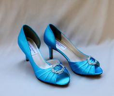 Turquoise Wedding Shoes low heel -- 2.5 inch heel shoes- Wides available