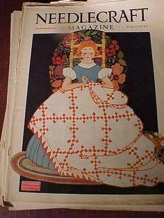 바느질하는, sew ephemera, needl art, magazin cover, ilustracion vintag