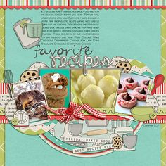 """Favorite Recipes"" digital scrapbooking layout #digiscrap"