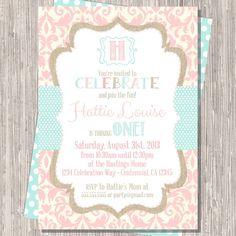 Shabby Chic Pink Girl Birthday Invitation   by pickledoodledesigns, $16.00