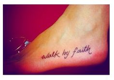 Walk by faith cross tattoo on back, cross tattoos on foot, cross tattoo on foot, back tattoos cross, quote tattoos, walk by faith tattoo on foot, faith quot, back of neck cross tattoo, cross tattoos on back of neck