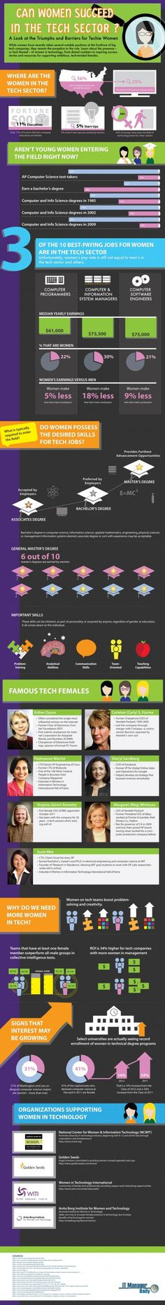 Can Women Succeed in the Tech Sector? Infographic looks at stats about women's representation in technical roles and why increasing the representation of women is so important.