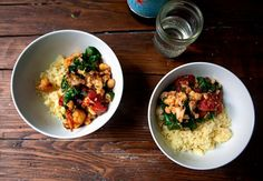 Cauliflower and Chickpea Stew with Couscous #vegan #stew #recipe