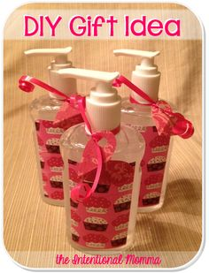 DIY gift idea: hand sanitizer bottle, scrapbook paper, mod podge, ribbon. Teacher appreciation gift idea! Christmas, Valentine's Day, or simple gift for friends or neighbors.