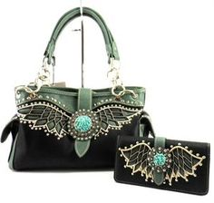 ANGEL WINGS TURQUOISE CONCHO RHINESTONE WESTERN CONCEALED WEAPON CARRY HANDGUN PURSE WALLET SET BLACK
