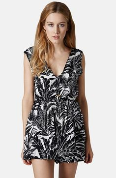 Topshop Palm Print Lace-Up Romper | Nordstrom