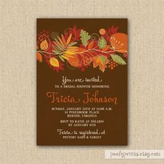 Autumn Leaves Bridal Shower Invitations - Funky Fall Leaves Invitations