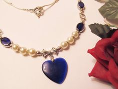 Blue Tiger Eye Heart Pendant Necklace with by RomanticThoughts, $30.00 -SOLD-