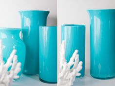 Dollar store vases (or the ones under your sink!) painted inside with enamel paint!!!