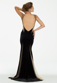 Velvet Illusion Dress with Open Back from Camille La Vie and Group USA #homecoming #homecomingdresses #prom