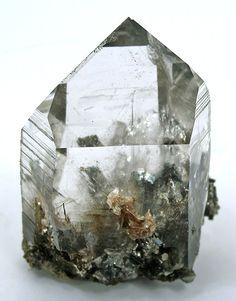 quartz crystal with arsenopyrite inclusions