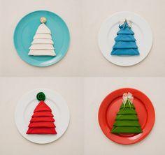 holiday napkin folding, napkins, tree napkin, christma tree, diy christmas tree, christmas trees, doblar servilleta
