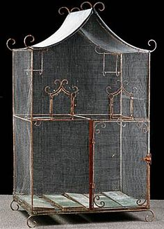 French Antique Wrought Iron Bird Cage with Zinc Roof