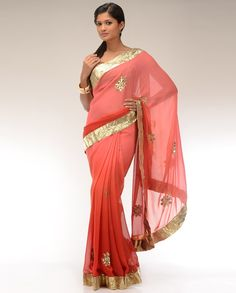 Ombre Carnation Pink and Dark Orange Sari with Golden Gota Border - Exclusively In