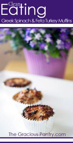 Clean Eating Greek Spinach & Feta Turkey Muffins.