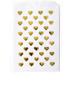 Gold Foil Heart Print Favor Bags in White