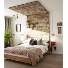 rustic canopy, bedside chandeliers, layered textiles, neutrals