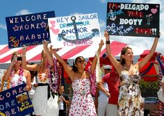 """funny homecoming signs - especially """"hey sailor drop your anchor in my harbor"""""""