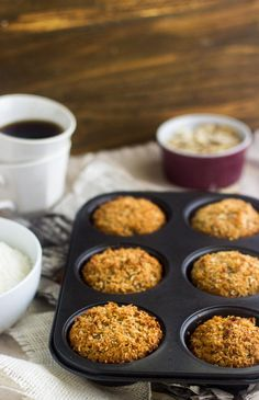 Gluten Free Almond Coconut Muffins - Easy, healthy and perfect for #backtoschool snacks! | Foodfaithfitness.com | #muffin #recipe #oatmeal