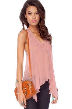 Show Me the Rope Detailed Tank Top in Dusty Rose $31 at www.tobi.com