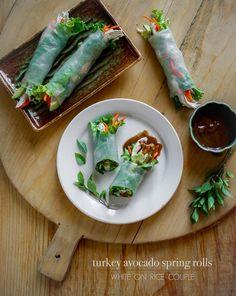 Asian Food Recipes: Spring Rolls Recipe: Turkey Avocado Spring Rolls with Hoisin Peanut Dip