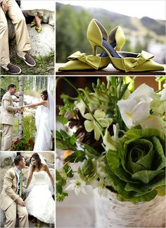 in a brown and green wedding
