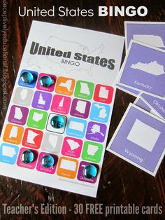 Relentlessly Fun, Deceptively Educational: United States BINGO - Teacher's Edition (30 FREE printable cards)