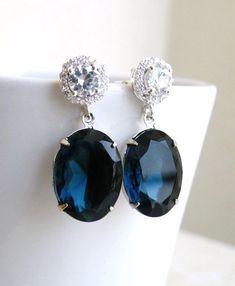 Sapphire Jewelry Wedding Jewelry Bridal Earrings Montana Navy Blue Oval Stone Silver Stud Post Estate Style Bridesmaids Jewelry. $27.00, via Etsy.